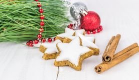 Cinnamon star shaped biscuits Royalty Free Stock Image
