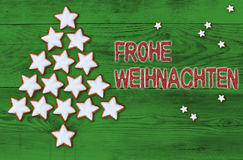 Cinnamon stars Christmas tree Frohe Weihnachten (in german Merry Stock Images