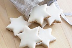 Cinnamon stars falling out a small bag Royalty Free Stock Photo