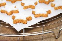 Cinnamon stars on a parchment paper on a cooling grid Stock Photography