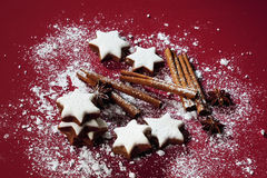 Cinnamon stars and spices sprinkled with powder sugar on red background Stock Photos
