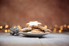 Cinnamon starts cookies for Christmas Royalty Free Stock Photography