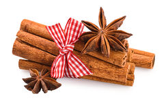 Cinnamon stick anise star isolated on white Royalty Free Stock Image