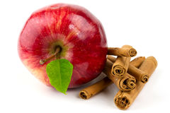 Cinnamon stick with apple. Apple and cinnamon sticks isolated on white Stock Photo