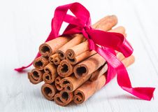 Cinnamon stick with christmas decoration. Some cinnamon stick with christmas decoration stock image