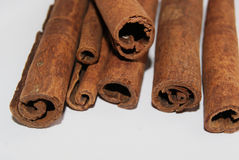 Cinnamon Stick Edges Close up. A close up of whole cinnamon stick edges Royalty Free Stock Photos