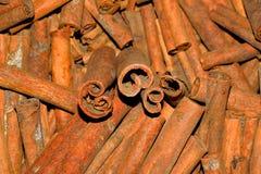 Cassia (Cinnamomum cassia). A heap of cassia Stick ingredient stock images