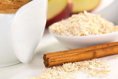 Cinnamon Stick and Oatmeal Royalty Free Stock Photos