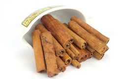 Cinnamon Stick. In a small Bowl on White Back Ground Stock Image