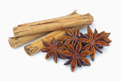 Cinnamon stick and star from anis 02 royalty free stock image