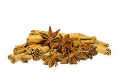 Cinnamon stick and star from anis stock photo