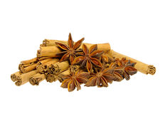 Cinnamon stick and star from anis Royalty Free Stock Photo