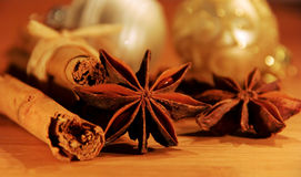 Cinnamon stick and star from anis Royalty Free Stock Images