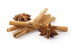 Cinnamon stick and star anise Stock Photos