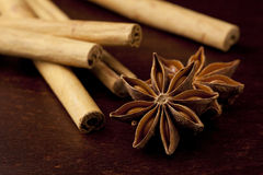 Cinnamon stick and star anise Stock Photo
