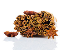 Cinnamon stick and star anise Royalty Free Stock Photos