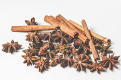 Cinnamon stick and star anise spice isolated on white background closeup Stock Images