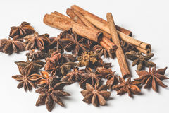 Cinnamon stick and star anise spice isolated on white background closeup Stock Photography