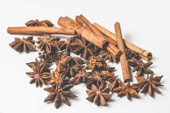 Cinnamon stick and star anise spice isolated on white background closeup Royalty Free Stock Photos