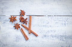 Cinnamon stick and star anise spice Stock Photography