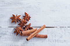 Cinnamon stick and star anise spice Royalty Free Stock Photography