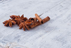 Cinnamon stick and star anise spice Stock Photos