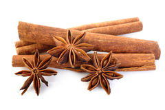 Cinnamon stick and star anise on white background Royalty Free Stock Photos