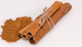Cinnamon stick tied. On white background royalty free stock photo