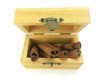 Cinnamon stick in wooden box Stock Images