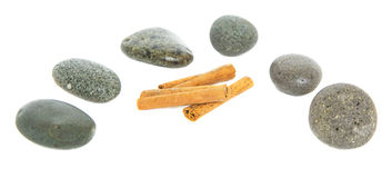 Cinnamon Stick and Zen Stones II Royalty Free Stock Photo