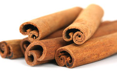 Cinnamon sticks. On white background royalty free stock photos