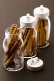 Cinnamon sticks. In glass pots, studio shot, close up Royalty Free Stock Photography