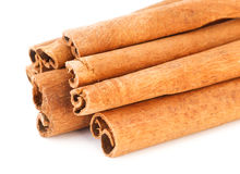 Cinnamon sticks. On white background Stock Images