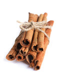 Cinnamon sticks. Bundle of cinnamon sticks isolated on white Royalty Free Stock Photography