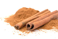 Cinnamon Sticks And Ground Cinnamon Stock Photography