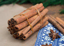 Cinnamon sticks and anice Royalty Free Stock Photo