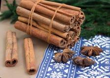 Cinnamon sticks and anice. Winter background Stock Photos