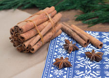 Cinnamon sticks and anice Stock Photos