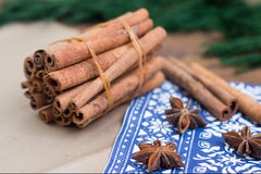 Cinnamon sticks and anice. Winter background Royalty Free Stock Photography