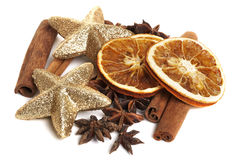 Cinnamon sticks, anis and dried oranges Stock Image