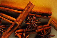 Cinnamon sticks and anise Royalty Free Stock Photos