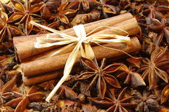 Cinnamon sticks and anise Royalty Free Stock Photo