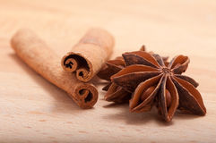 Cinnamon sticks and anise Stock Image