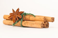 Cinnamon sticks with anise Stock Photo