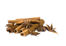 Cinnamon sticks and anise Royalty Free Stock Images