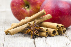 Cinnamon sticks, anise and apples Stock Photography