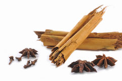 Cinnamon sticks, anise and cloves. On the white Royalty Free Stock Images