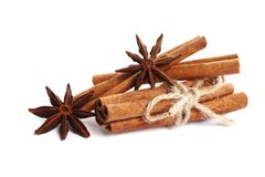 Cinnamon sticks and anise isolated on white background stock photos