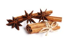 Cinnamon sticks and anise isolated on white background royalty free stock photos