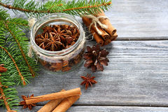 Cinnamon sticks and Anise in a jar Stock Photos